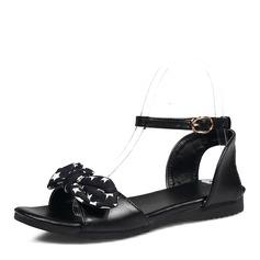 Women's PU Flat Heel Sandals Flats Peep Toe Slingbacks With Bowknot shoes