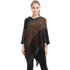 Retro/Vintage/Stitching Oversized/fashion Artificial Wool Poncho