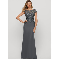 Sheath/Column Scoop Neck Floor-Length Chiffon Evening Dress With Sequins (271220803)