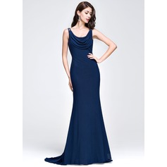 Trumpet/Mermaid Cowl Neck Sweep Train Jersey Prom Dresses With Ruffle Beading Sequins