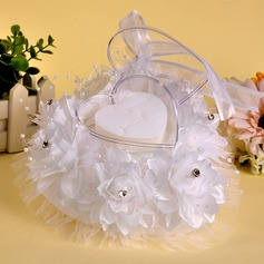 Hot Heart Ring Pillow in Cloth With Ribbons/Rhinestones/Faux Pearl