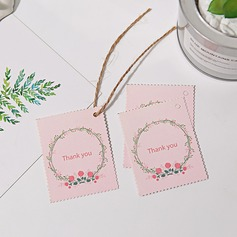 """Thank You"" Pearl Paper Favor Tags & Stickers With Rustic Twine"