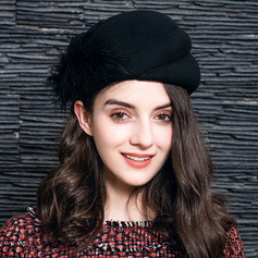 Ladies' Elegant Wool With Feather Beret Hats