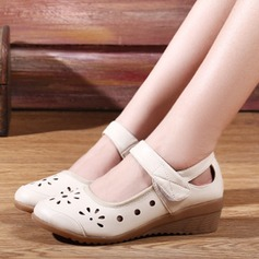 Women's Real Leather Flats Sneakers With Ankle Strap Hollow-out Dance Shoes