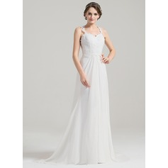 A-Line/Princess Sweetheart Sweep Train Chiffon Wedding Dress With Ruffle Appliques Lace