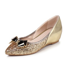 Women's Leatherette Sparkling Glitter Wedge Heel Flats Closed Toe shoes