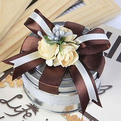 Cylinder Favor Tin With Flowers Ribbons