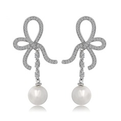 Bowknot Pearl/Copper/Zircon/Platinum Plated Ladies' Earrings
