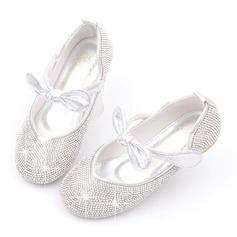 Jentas Round Toe Lukket Tå Leather Flower Girl Shoes med Bowknot