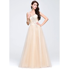 A-Line/Princess One-Shoulder Floor-Length Tulle Prom Dresses With Beading Sequins