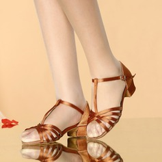 Women's Satin Sandals Latin With T-Strap Buckle Hollow-out Dance Shoes