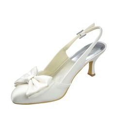 Women's Satin Stiletto Heel Closed Toe Pumps Sandals With Bowknot