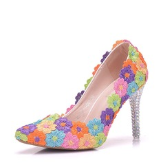 Women's Leatherette Stiletto Heel Closed Toe Pumps With Flower Crystal Heel