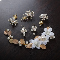 Special Alloy/Silk Flower Headbands (Set of 5)