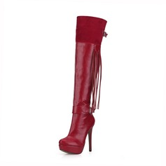 Women's Suede Leatherette Stiletto Heel Pumps Platform Closed Toe Boots Over The Knee Boots With Buckle Tassel shoes