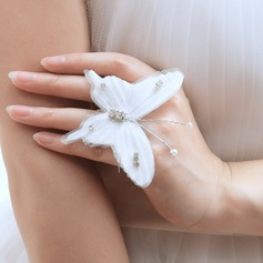 Butterfly Shaped Alloy/Cloth With Pearl/Rhinestone Ladies' Rings