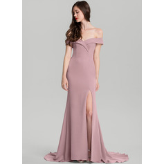 Sheath/Column Off-the-Shoulder Sweep Train Stretch Crepe Evening Dress (271194401)