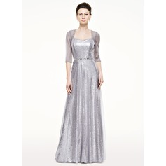 A-Line/Princess Sweetheart Floor-Length Tulle Sequined Mother of the Bride Dress With Beading Sequins