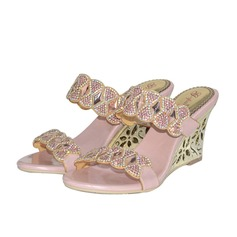Women's Leatherette Wedge Heel Sandals With Rhinestone