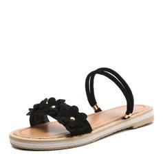 Kvinner Microfiber Lær Flat Hæl Sandaler Flate sko med Blomst sko