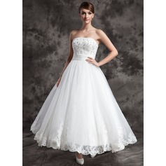A-Line/Princess Strapless Ankle-Length Satin Organza Wedding Dress With Lace Beading