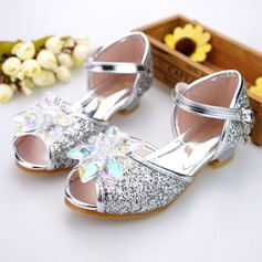 Jentas Titte Tå Leather lav Heel Sandaler Flower Girl Shoes med Spenne Rhinestone Glitrende Glitter