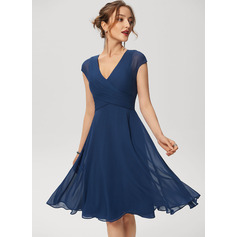 A-Line Knee-Length Chiffon Cocktail Dress With Ruffle (016230173)