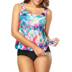 Colorful Strap Tankini Swimsuit