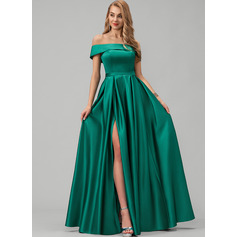 Off-the-Shoulder Floor-Length Satin Prom Dresses With Split Front Pockets (272235916)