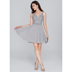 A-Line Sweetheart Short/Mini Chiffon Homecoming Dress With Beading Sequins (300244098)