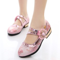 Girl's Leatherette Flat Heel Closed Toe Flats With Rhinestone Satin Flower Flower