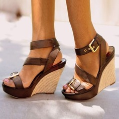 Women's PU Wedge Heel Sandals Wedges Peep Toe Slingbacks With Buckle shoes (087155353)