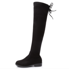 Women's Suede Low Heel Boots Knee High Boots Over The Knee Boots With Lace-up shoes