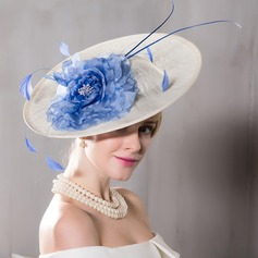 Ladies' Charming Net Yarn With Feather/Silk Flower Fascinators