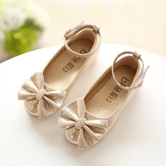 Girl's Leatherette Flat Heel Round Toe Closed Toe Flats With Bowknot Rhinestone