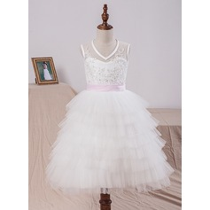 A-Line/Princess Tea-length Flower Girl Dress - Satin/Tulle/Lace Sleeveless V-neck With Sash/Bow(s)