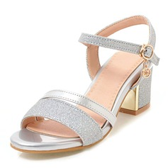 Women's Leatherette Sparkling Glitter Chunky Heel Sandals Pumps Peep Toe With Buckle shoes (087207013)