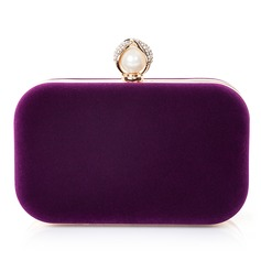 Attractive Velvet/Imitation Pearl Clutches/Satchel (012066257)