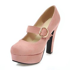 Women's Suede Chunky Heel Pumps Platform With Buckle shoes