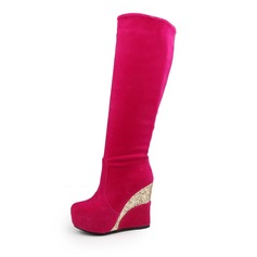 Women's Suede Leatherette Wedge Heel Boots Knee High Boots shoes