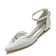 Femmes Satiné Talon plat Bout fermé Chaussures plates Sandales avec Couture dentelle