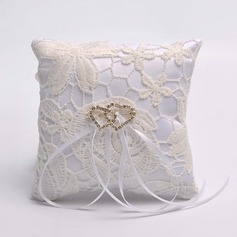 Lovely Ring Pillow in Satin/Lace With Ribbons/Loving Hearts
