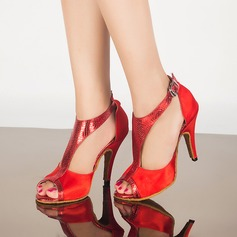 Women's Satin Leatherette Heels Sandals Latin With Buckle Dance Shoes