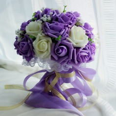 Lovely Round Satin Bridal Bouquets -