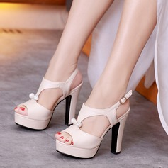 Women's Leatherette Stiletto Heel Sandals Platform Peep Toe Slingbacks With Rhinestone shoes (117125202)