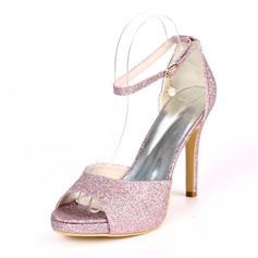 Women's Sparkling Glitter Stiletto Heel Peep Toe Platform Pumps Sandals With Buckle Imitation Pearl