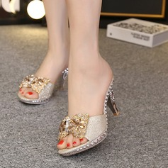 Women's Sparkling Glitter Stiletto Heel Sandals Pumps Platform Slippers With Bowknot Sparkling Glitter shoes (087127487)