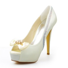 Women's Satin Chunky Heel Peep Toe Platform Pumps Sandals With Bowknot Rhinestone