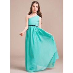 A-Line/Princess One-Shoulder Floor-Length Chiffon Junior Bridesmaid Dress With Ruffle Bow(s)