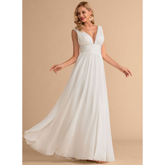 V-neck Floor-Length Chiffon Wedding Dress With Split Front (265235912)